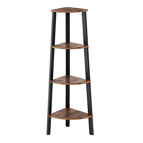 VASAGLE Industrial Corner Shelf, 4-Tier Bookcase, Storage Rack, Plant Stand for Home Office, Wood Look Accent Furniture with Metal Frame, Rustic Brown ULLS34X