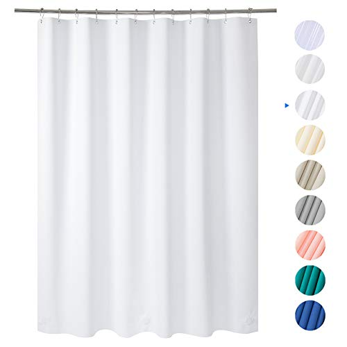 "AmazerBath Plastic Shower Curtain, 72"" W x 72"" H White EVA 8G Shower Curtain with Heavy Duty Clear Stones and Grommet Holes, Waterproof Thick Bathroom Plastic Shower Curtains Without Odor"