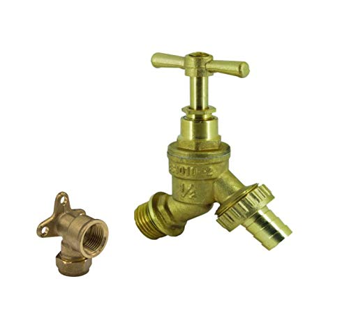 Water Bibcock Tap 1/2 inch BSP with Brass Wall Plate Fixture BS1010-2