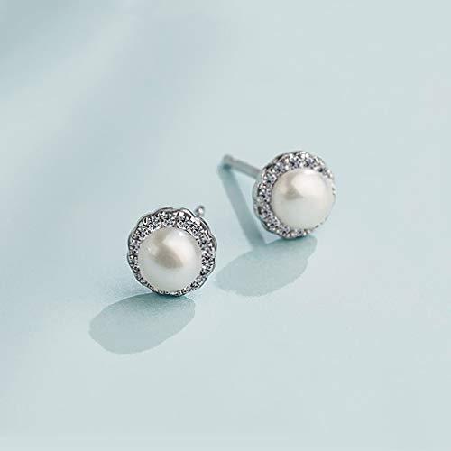 Aretes de plata Pequeña de agua dulce pendientes de perlas cultivadas 925 manera de la plata sintética circonio cúbico 6-8m m del blanco de la joyería de las señoras Pendientes de mujer ( Size : S )