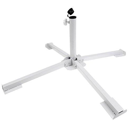 BAKAJI Base Pieghevole per Ombrellone a Palo Centrale Stand Treppiede Supporto in Metallo Colore Bianco Adatto per Ombrelloni di 34/38 mm Dimensioni Aperto 84 x 84 x 30 cm