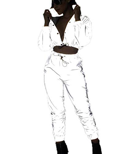 Hibasing Vestiti Luminosi della Roccia di Modo delle Donne, Partito, Vestito Riflettente del Cappotto + dei Pantaloni del Cardigan di Modo del Locale Notturno
