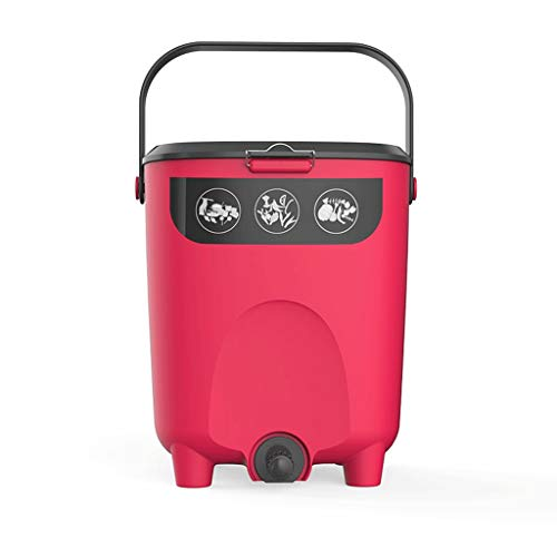 Best Price Outdoor Trash Cans Kitchen Balcony Garden Compost Bin, Green Garbage Waste Collector 2.6 Gallons Commercial Trash Cans (Color : Red)