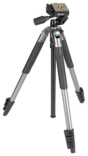 SLIK Sprint PRO III Travel Tripod w/SH-704E 3-Way Pan Head for Mirrorless/DSLR Sony Nikon Canon Fuji Cameras and More - Gun Metal Finish (611-891)