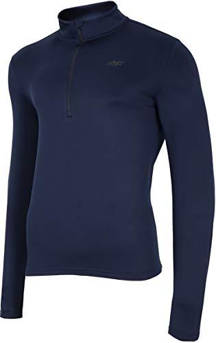 4F Herren Funktions Shirt Henry Camiseta Funcional, Hombre, Azul Marino, Medium
