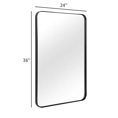 ANDY STAR Wall Mirror for Bathroom, 24x36 Inch Black Bathroom Mirror, Stainless -