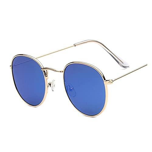 YQSBYI Klassischer Kleiner Rahmen Runde Sonnenbrille Frauen/Männer Alloy Design Spiegel Sonnenbrille Retro Multicolor (Lenses Color : Gold Blue)