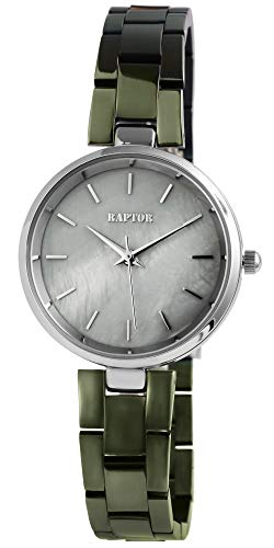 Raptor Damen-Uhr Armband Edelstahl Elegant Schlicht Rund Analog Quarz RA10182 (olivgrün)