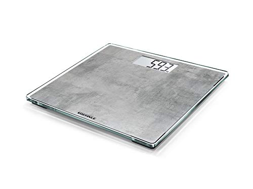 Soehnle Style Sense Compact 300 Concrete, digitale Körperwaage mit LCD-Anzeige, elektronische Waage mit extraflachem Design, Personenwaage mit Tragkraft bis zu einem Gewicht von 180 kg