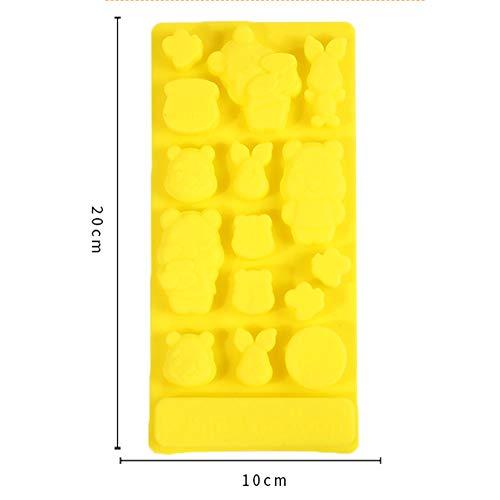 Moule en silicone multifonction Winnie l'ourson pour gâteau, fondant, chocolat, gelée, bonbons, cupcakes, Gel de silice, jaune, 20×10×1.5cm