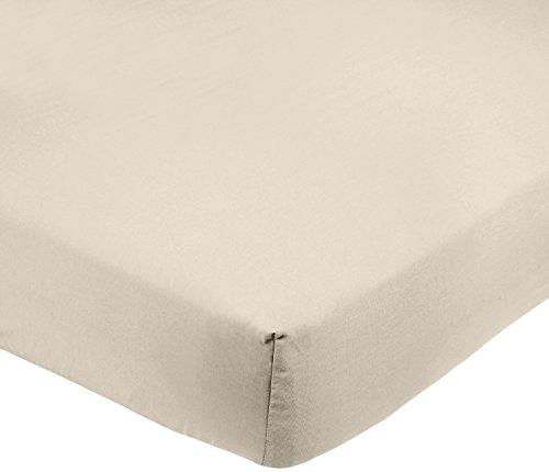 Amazon Basics FTD Sábanas Ajustables, Microfibra de poliéster, Beige, 160 x 200 x 30 cm