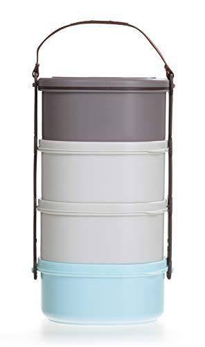LOCK & LOCK Picknick Box Set klein mit Transport-Henkel & Hülle - 4er Lunchbox - Vesperdosen bpa-frei - 4 Design Picknickboxen stapelbar & tragbar