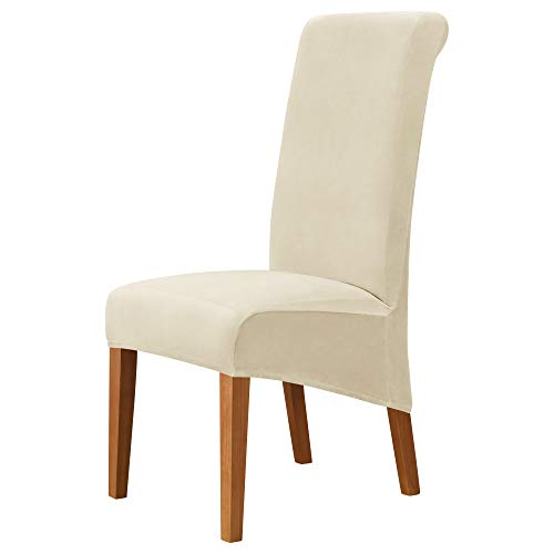 MILARAN Velvet Large Chair Covers für das Esszimmer, Soft Stretch Seat Slipcover für den Large Dining Chair, waschbarer, Abnehmbarer Parsons Stuhlschutz(4 Stück,Creme)