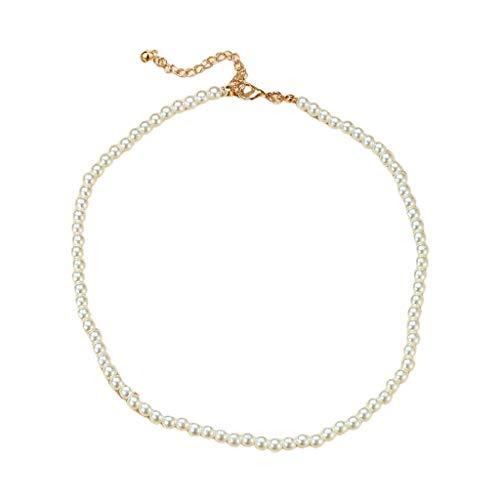 follwer0 Collar de perlas Chian Choker para mujer, encantador, hecho a mano, ajustable, para fiestas, suéteres, joyas, regalos