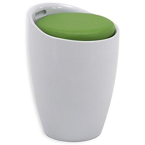 IDIMEX Sitzhocker Arbeitshocker Badhocker Badschemel Stauraumhocker Daniel, mit Stauraum und Sitzkissen in weiß/grün