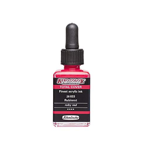 Schmincke : Aero Color Finest Acrylic Ink : 28ml : Total Cover : Ruby Red