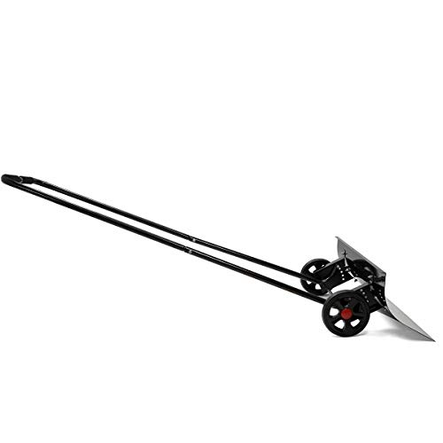 Find Discount Snow Pusher Shovel 2 Wheels Angled Wide Steel Blade Adjustable 6 Deep in One Pass Qui...