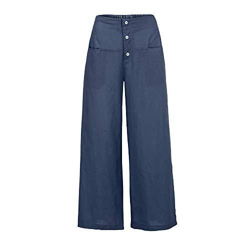 YWLINK Frau Palazzo Hose Damen Einfarbig Literarisch Hohe Taille Wide Leg Culottes Baumwolle Leinenhose Lose Hosen(XL,Marine)