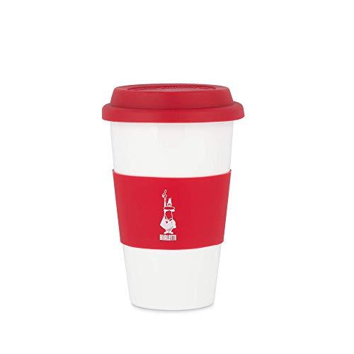 Bialetti To Go Mug da Ufficio (con Doppia Parete), Tazza in Porcellana con Coperchio e Banda in Silicone, capacità 300 ml, Red, Rosso