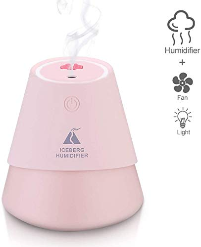 3-in-1 Mini luchtbevochtiger Slaapkamer 230ml USB Fan Light Air Diffuser met 7-kleuren LED verlichting Portable luchtbevochtiger for Baby ruimte kantoor dljyy (Color : Pink)