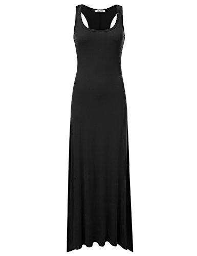 NINEXIS maxi vestido sin mangas con cuello redondo y espalda cruzada para mujer - Negro - Large