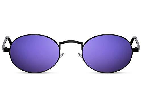 Cheapass Gafas de Sol Pequeñas Oval Negras Metálicas Montura Festival Gafas de sol con Lentes Oscuras para Mujeres