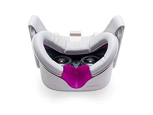 VR Cover Facial Interface and Foam Replacement Set for Oculus Quest 2 (Magenta & Light Grey)