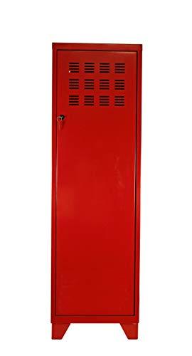 Rangement 1 Porte GM avec 4 Pieds et 3 Étagères, Rouge