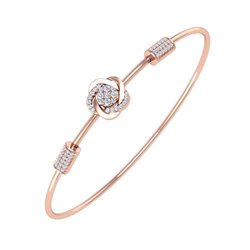 1/5 Carat Diamond Floral Bangle Bracelet in 10K Rose Gold and Steel
