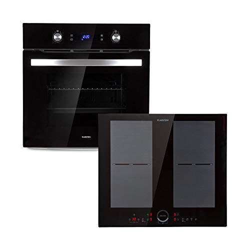 Klarstein Gusteau Delicatessa Set - Four + table de cuisson à induction encastrables - Plaque à induction 4 zones : 7000 W (2 x 2000 W / 2 x 1500 W), Vitrocéramique - Four : 64 L, noir