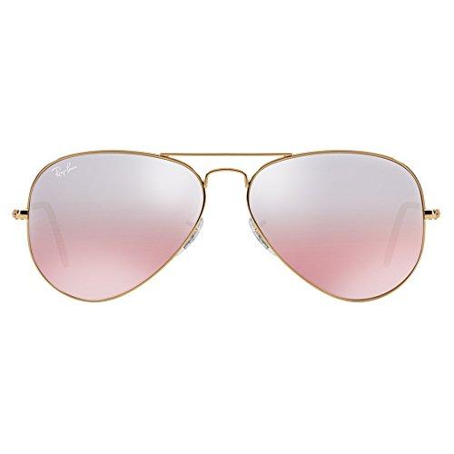 Ray-Ban AVIATOR LARGE METAL - GOLD Frame / Crystal Brown Pink Silver Mirror Lenses 62mm