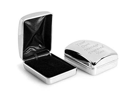 Personalised Chrome Necklace / Pendant Case Box Engraved - Enter Your Custom Text