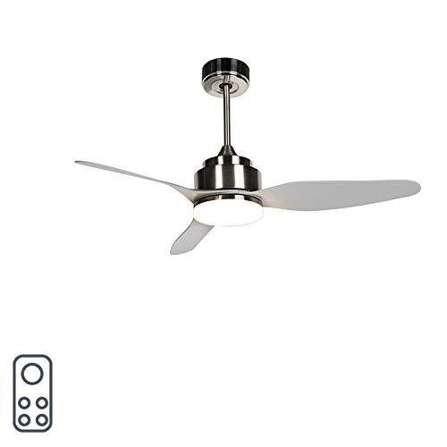 QAZQA Modern Deckenventilator mit beleuchtung und fernbedienung grau inkl. LED mit Fernbedienung - Tramontane 46 / Innenbeleuchtung/Wohnzimmerlampe/Schlafzimmer/Küche Kunststoff/Stahl Rund / (n