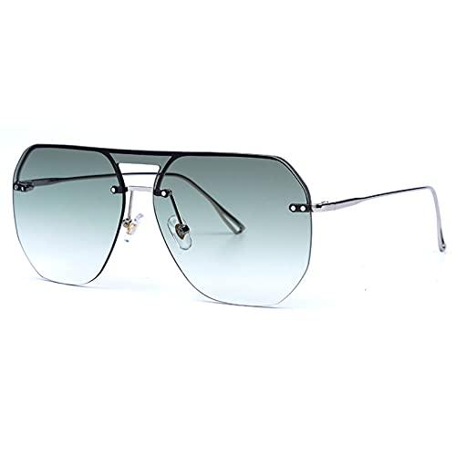BAJIE Gafas De Sol Gafas De Sol De Gran Tamaño Sin Montura De Moda para Mujer Gafas De Sol De Gradiente De Metal Gafas De Sol para Mujer Gafas De Sombra Uv400 Gafas De S