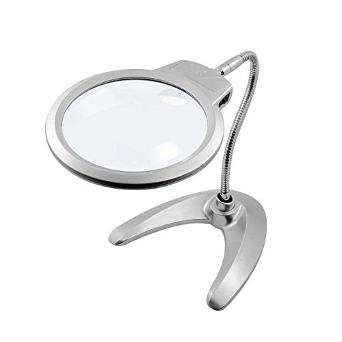 HunterBee LED Gooseneck Stand illumination hands free light Magnifier/ 2x 5x Glass lens/Reading lighting 360 Degree Adjustment Modern Base