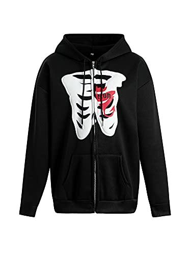 Chaquetas deportivas de manga larga con cremallera y estampado de calavera para mujer, estilo gótico con bolsillos Y2K Streetwear, Negro, L
