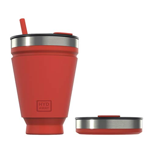 HYDAWAY Collapsible Drink Tumbler   Portable, Insulated, Hot & Cold Drink Cup for Coffee, Tea, Smoothies, Beer, Cocktails, Travel, Commuting, Camping, Events   16oz Capacity (Ember)