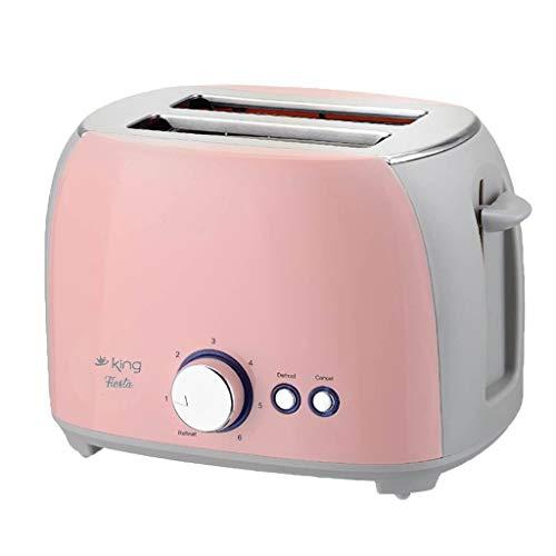 Home Toaster,Slot Toaster, Retro Edelstahl Toaster 2 Scheiben extra breiter Toaster Perfekt für Brot, englische Muffins, Bagels, Abbrechen-Taste (Pink)