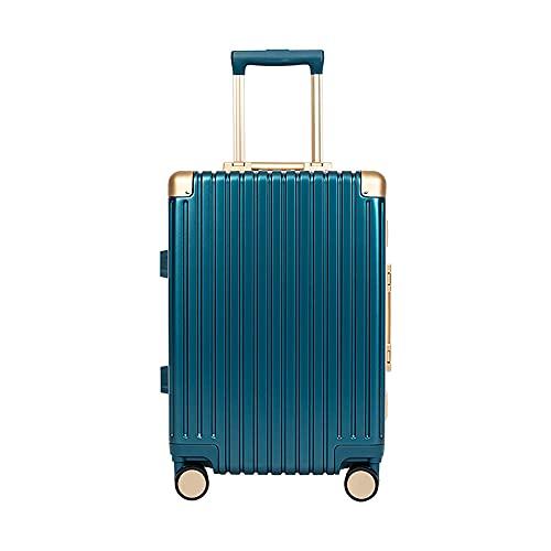 SGCDKSP Maleta de Marco de Aluminio Maleta de código de embarque de Rueda Universal, Carro de Carro para Hombres y Mujeres,Azul,22 Inches