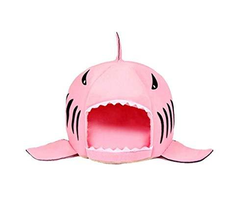 kingtoys Cuccia per squalo, Casetta per Animali Domestici Lavabile Squalo Letto per Cane di Piccola Taglia Media con Cuscino Rimovibile Rosa