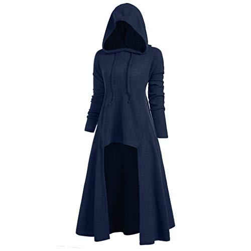 VEMOW Karneval Halloween Cosplay Party Ballkleid Damen Mode Langarm Mit Kapuze Mittelalterliches Kleid Bodenlangen Cosplay Kleid (30, X1-blau)