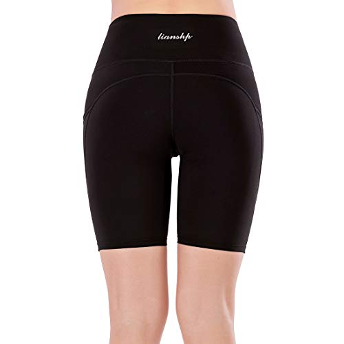 Lianshp High Waist Yoga Shorts for Women Tummy Control Athletic Workout Running Shorts with 3 Pockets 8