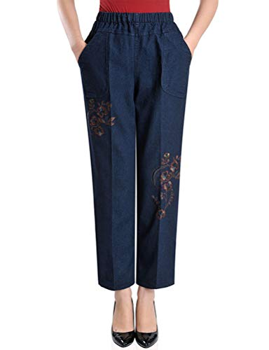 IDEALSANXUN Women's Elastic Waist Embroidery Pull On Jeans (Large, I2 Ombre Flowers)