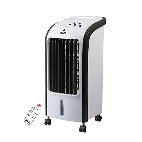 ELEX Portable Powerful Digital Evaporative Air Cooler AC Fan With Remote Control, 4L Tank & 2 Ice Boxes - With Anti Dust Filter - 3 Speed Settings - 120° Oscillating Swing Function 7.5 Hour Time