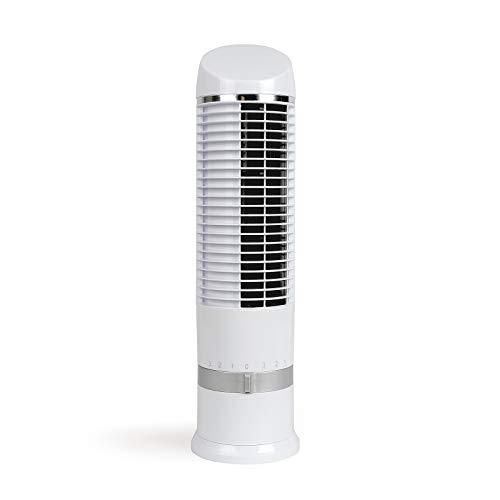 Ventilador de mesa Oscilante Silencioso Blanco – Ventilador de torre pequeño altura 41,5 cm – Ventilador de pie pequeño muy silencioso – Ventilador portátil para oficina 3 niveles