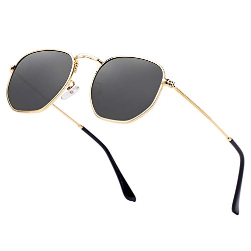 Hipster Hexagonal Polarized Sunglasses Men Women Geometric Square Small Vintage Metal Frame Retro Shade Glasses (Gold Black)