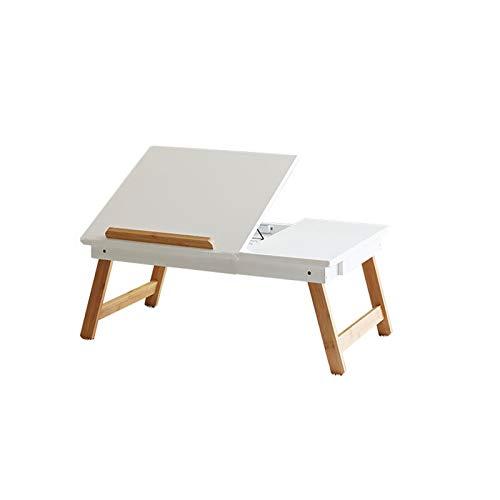 Escritorio para ordenador portátil, plegable, simple, para estudio de dormitorio, portátil, práctico y pequeño, soporte ajustable, fácil de montar (color blanco, tamaño: 58 x 34 x 23 cm)