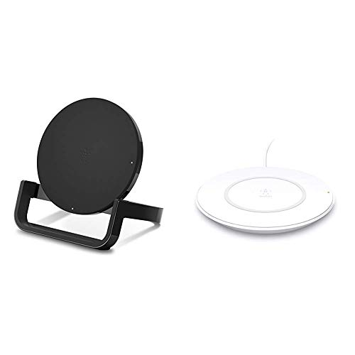 Belkin Boost Up Wireless Charging Stand 10W - Qi Wireless Charger (Black) & Boost Up Wireless Charging Pad 7.5W – Wireless Charger