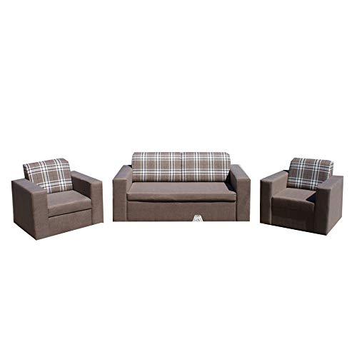 mb-moebel Polstergarnitur Sofa Set 3er Couch & 1er Wohnlandschaft 3-Sitzer und Zwei Sessel Möbel Set - Nantes Braun