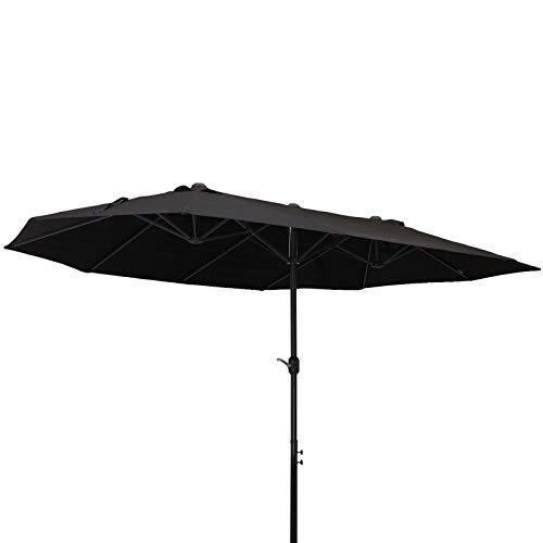 Outsunny Sombrilla Doble Parasol Grande 4.6x2.7m Sombrilla Jardín Patio con Manivela Manual Resistente al Agua y Protección Solar UV para Terraza Playa Piscina Negro